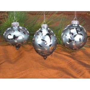 Pack of 9 Silver Onion/Teardrop/Round Glass Christmas Ornaments 3.5