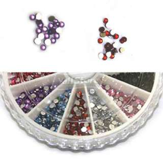 PCS 2.0mm Nail Art Rhinestones Glitters Round Wheel 12 Colors