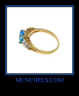14K YELLOW GOLD OVAL LONDON BLUE TOPAZ & DIAMOND RING