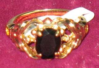 WOMENS GENUINE BLACK ONYX DIAMOND GOLD RING SZ 7