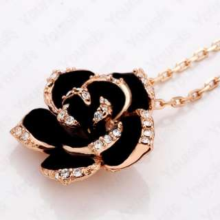 Noble 18K Gold Plated Swarovski Crystal Black Rose Flower Pendant