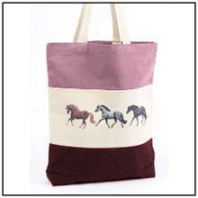 LILA PONIES HORSE TR COLORED ROOMY STABLE TOTE BAG
