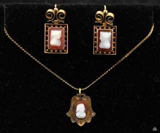 Pc Genuine Cameo Jewelry Necklace & Earrings Gold Plt
