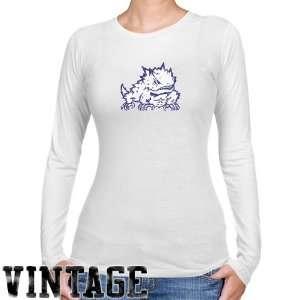 NCAA TCU Horned Frogs Ladies White Distressed Logo Vintage Long Sleeve