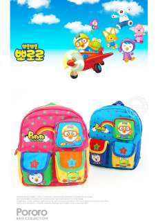 PORORO 3 Pocket Backpack Zipper Bag for Kids & Toddler Baby Blue Pink