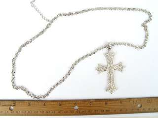 VINTAGE REPRODUCT LARGE CRYSTAL CROSS NECKLACE PENDANT