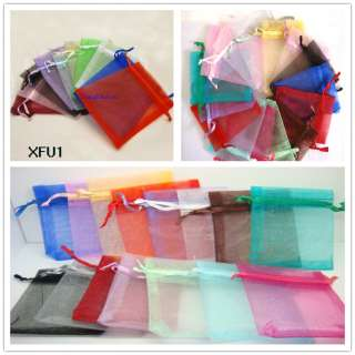 Bulk Big Wedding favor bags jewelry organza gift pure color pouch 6*4