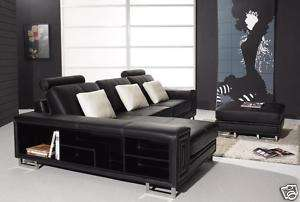 PHEBE Modern BLACK Italian Leather Sectional Sofa Set