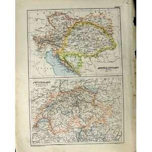 1890 Map Wurtemberg Prussia Austria Hungary Switzerland