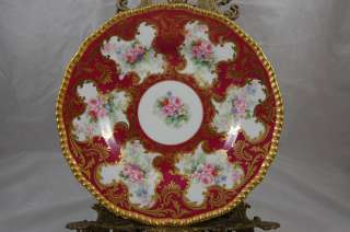 ANTIQUE LIMOGES ROSES HAND PAINTED PLATE PLAQUE