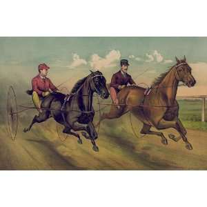 Fridge Magnet Horse Racing and Trotting A Champion Race Vintage Image