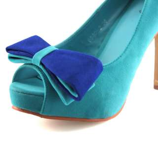Womens Turquoise Bowknot faux suede Peep Toe Heels pumps Shoes US 6