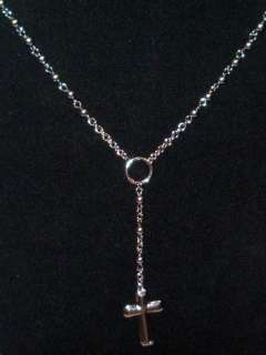GUESS MENS JEWELRY CROSS CHARM PENDANT NECKLACE SILVER
