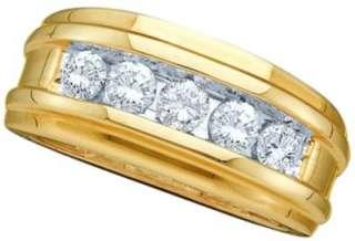 14K YELLOW GOLD MENS WEDDING ENGAGEMENT DIAMOND BAND