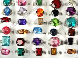 Wholesale 30pcs Crystal Zircon silver rings MIX lots jewelry