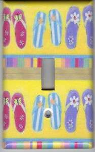 COLORED FLIP FLOPS LIGHT SWITCH PLATE COVER