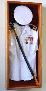 Military Shadow Box Display Case Cabinet Wall Frame LED