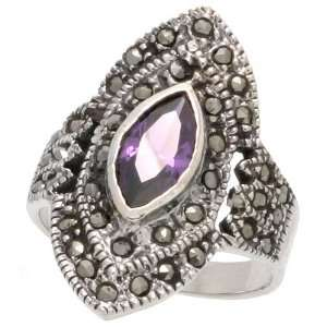 Sterling Silver Marcasite Diamond shaped Ring, w/ Marquise
