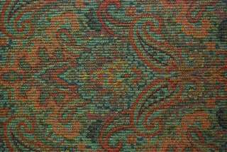 Robert Allen Red Blue Green Paisley Damask Drapery Chenille Upholstery
