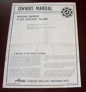 ARIENS 5 HP 902000 SERIES ROTARY TILLER OWNER MANUAL