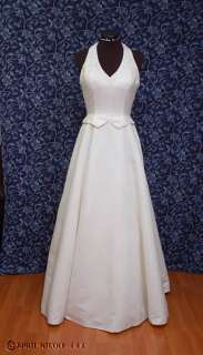 Ivory Satin Beaded Halter A line Wedding Dress 6