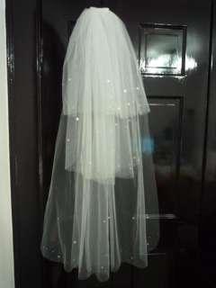 New White Wedding Bridal Veil Comb 3 layers Veil