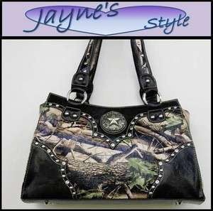 Western Bling Star Handbag Rhinestone Purse Camo/Black