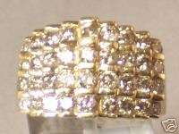 SOLID GOLD COCKTAIL RING WIDE DIAMOND BAND 2 CARATS