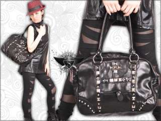 P054NP Black Stud Punk Rock Gothic Tote Shoulder Bag