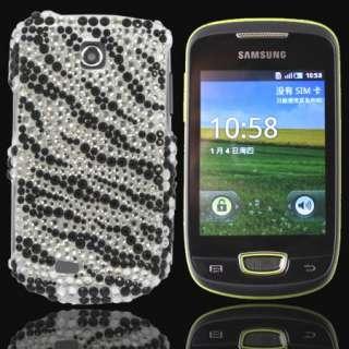 Bling Diamond Black Zebra Back Hard Case For Samsung Galaxy mini S5570