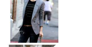 Women Lady Double Breasted Lapel Casual Suit Blazer Jacket Outerwear