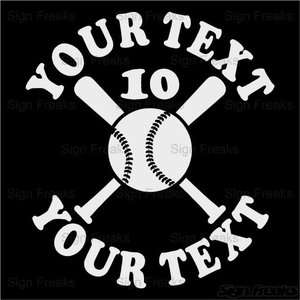 Personalized Car Window Vinyl Decal Sticker   Baseball/Softball Bats