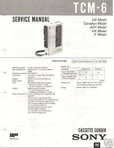 Original Sony Service Manual TCM 6 Cassette Recorder