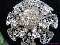 Flower Austrian crystal Brooch pin bridal wedding
