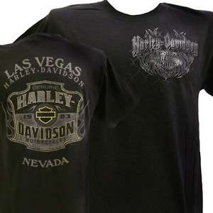 Harley Davidson Las Vegas Dealer Tee T Shirt BLACK MEDIUM #RKS