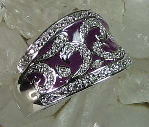 Victoria Wieck .28ct Absolute Sterling Silver Pavé Enamel Ring SZ