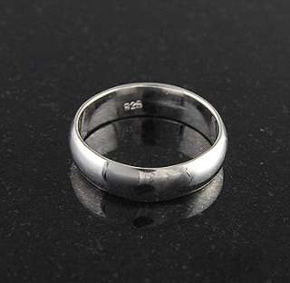 Sterling Silver Plain 6mm Band Wedding Ring Solid 925 Jewelry Rounded
