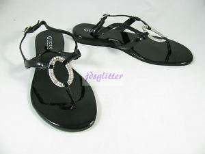 GUESS Black Parker Oval Crystal T Strap Sandals NWT