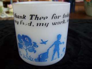 Prayer Mug Hazel Atlas Milk Glass Childs Thank you Cup Blue & White