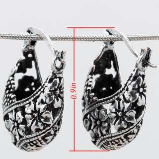 Free Ship Flowers Satchel Tibetan Silver Hoop Earrings