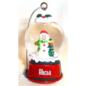 Alicia Christmas Snowman Snow Globe Name Ornament