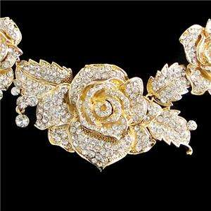 Trio Rose Flower Necklace Earring Set Rhinestone Crystal Clear