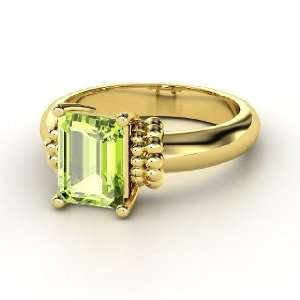 Beluga Ring, Emerald Cut Peridot 14K Yellow Gold Ring
