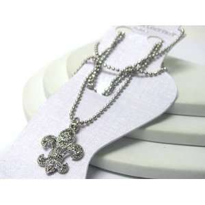 White Gold Plated Anklet ~ Clear Crystal Studded Fleur de