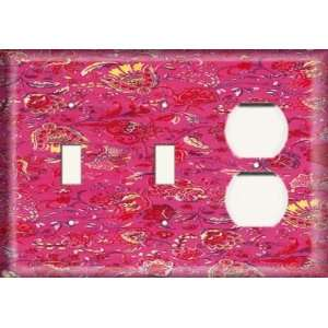 Duplex Receptacle Plate   Red / Yellow Flower Wash