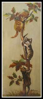 Unusual Antique Cat Oil Painting of Cats in a Tree NR