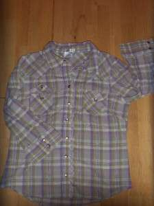 Womens OLD NAVY Purple Green PLAID Western BUTTON UP SHIRT Dress Snaps