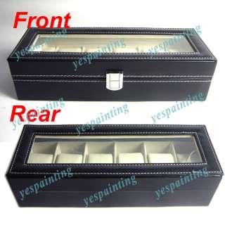 Black Leather 6 Grid Watch Display Case Box Jewelry Storage Organizer