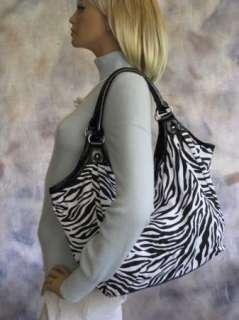 Large CHATEAU Zebra Animal Print Hobo Canvas Shopper Tote Shoulder Bag