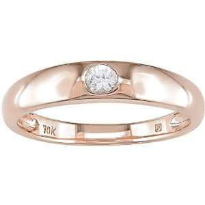 10K Pink Gold White Sapphire Solitaire Ring Jewelry